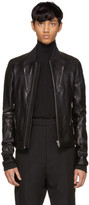Rick Owens Black Leather Chevron Bomber Jacket