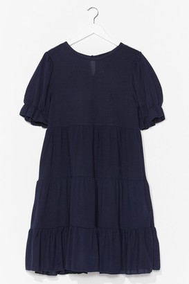 Nasty Gal Womens Hot Puff Tiered Mini Dress - Navy