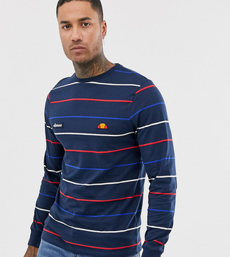 Ellesse Lalloro striped long sleeve top in navy exclusive at ASOS