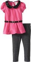 Little Lass Girls 2-6X 2 Piece Dotted Charmeuse Peplum Legging Set
