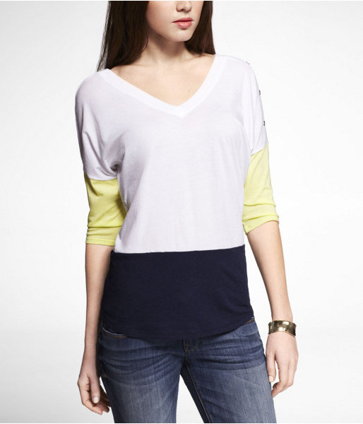 Express Color Block Double V-Neck Button Shoulder Tee