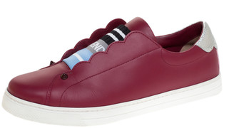 Fendi Dark Red Leather And Logo Knit Rockoclick Slip On Sneakers Size 39