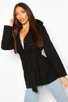 boohoo Pocket Belted Wool Look Hooded Coat