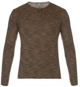 John Varvatos Henley Long-sleeved Linen-blend Jersey T-shirt