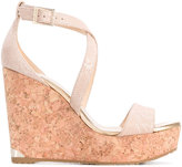 Jimmy Choo 'Portia' cork wedges - women - Calf Leather/Leather/rubber - 36