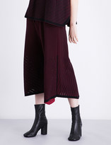 Issey Miyake High-waisted pointelle-knit culottes