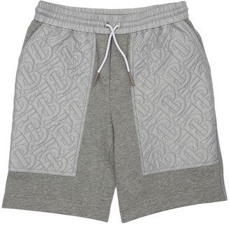 Burberry All Over Logo Cotton Sweat Shorts