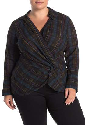 Laundry by Shelli Segal Twist Front Plaid Blouse (Plus Size)