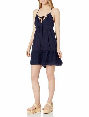 Blu Pepper Women's Woven Spaghetti Strap Dress with Lace Applique