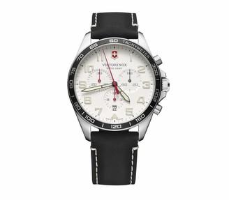 Victorinox Men's Stainless Steel Swiss Quartz Watch with Leather Strap