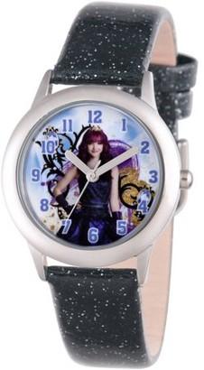 Disney Descendants 2 Mal Tween Girls' Stainless Steel Watch, Black Glitter Leather Strap