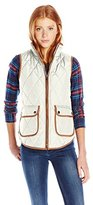 My Michelle Juniors' Quilted Vest with Cognac Trim and Antique Gold Details
