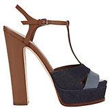 Sergio Rossi Denim Patchwork T-Strap Platform Sandals