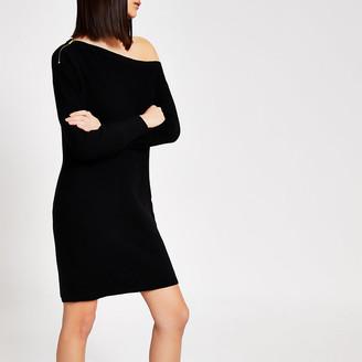 River Island Black off the shoulder knitted mini dress