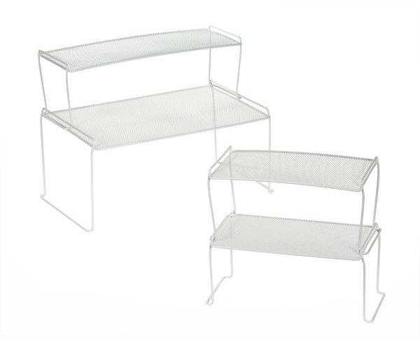 Container Store Long Mesh Stacking Shelf White