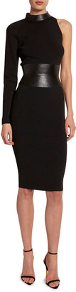 Tom Ford One-Sleeve Bodycon Dress with Leather Belt