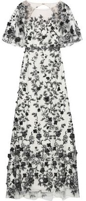 Marchesa Open-back Embroidered Tulle Gown