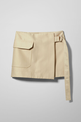 Weekday Haley Mini Skirt - Beige