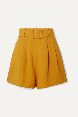 Adriana Degreas Belted Pleated Linen Shorts - Mustard