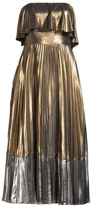 Aidan Mattox Metallic Pleated Midi Dress