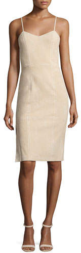 Alice + Olivia Rochelle Suede Fitted Midi Dress, Champagne
