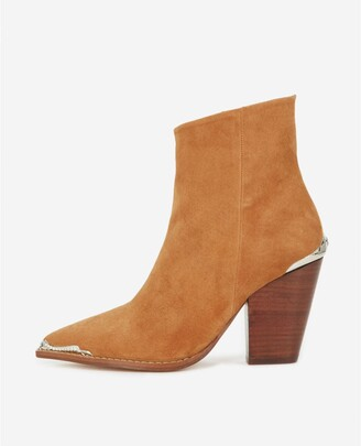 The Kooples Camel heeled ankle boots with silver detail
