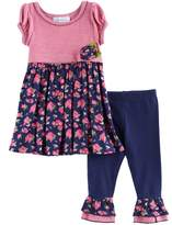 Bonnie Jean Toddler Girl Stripe & Floral Tunic & Leggings Set