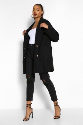 boohoo Tall Wool Oversized Pocket Coat