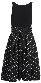 Lauren Ralph Lauren POLKA DOT FIT AND FLARE DRESS women's Dress in Black