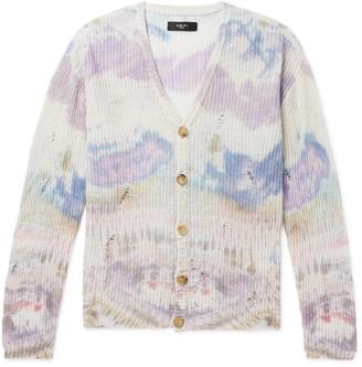 Amiri Distressed Tie-Dyed Cashmere Cardigan