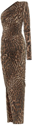 Alexandre Vauthier Leopard-print stretch-jersey one-shoulder gown
