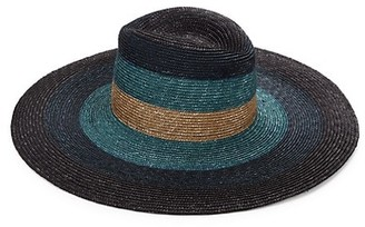 Raffaello Bettini Sewn Colorblocked Straw Wide-Brim Hat