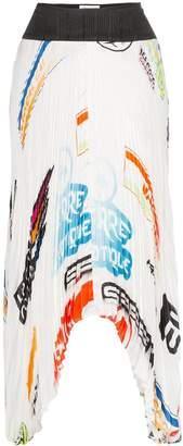 Marine Serre logo printed pleated midi skirt