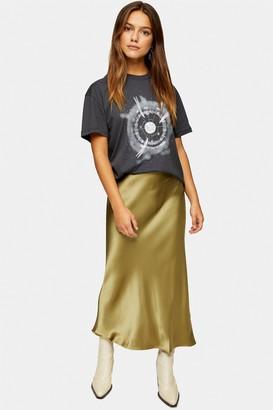 Topshop Womens Petite Green Satin Bias Maxi Skirt - Green