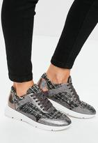 Missguided Grey Tweed Fabric Lace Up Trainers, Black