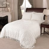 Beatrice Home Fashions Medallion Chenille Pillow Sham, Standard, White