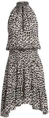 A.L.C. Cody Leopard Print Silk Halter Handkerchief Dress
