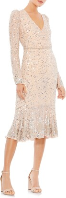 Mac Duggal Long Sleeve Sequin Sheath Dress