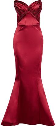 Zac Posen Strapless Pleated Satin Gown