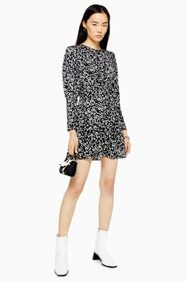 Topshop Womens Austin Black And White Printed Long Sleeve Mini Dress - Monochrome