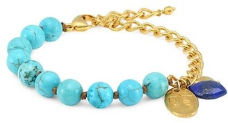 Chan Luu 18K Goldplated & Turquoise Beaded Charm Bracelet