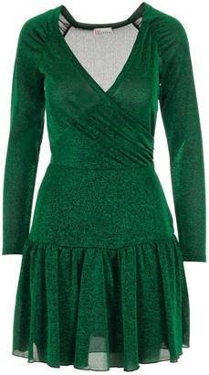 RED Valentino V-Neck Peplum Mini Dress