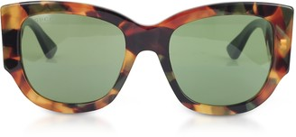 Gucci GG0276S Dark Tortoiseshell Oversize Cat Eye Acetate Sunglasses w/Sylvie Web Temples