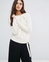 Sisley Sweater in Chunky Textured Knit with Lace Up Detail