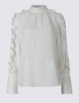 Limited Edition Turtle Neck Ruffle Sleeve Blouse