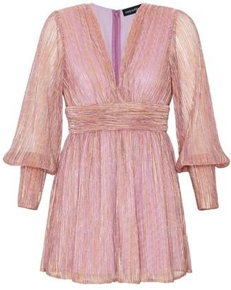retrofete Dani Metallic Blouson-Sleeve Dress
