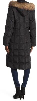 Nine West Faux Fur Trim Hood Puffer Coat