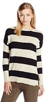 Michael Stars Women's Cotton Slub Long Sleeve Stripe Boatneck with Side Zip