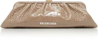 Balenciaga Cloud XL Croc-Effect Leather Clutch