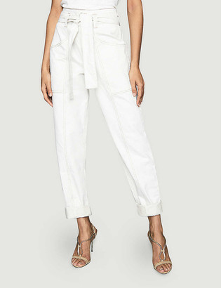 Reiss Chantelle belted tapered mid-rise cotton and linen-blend trousers